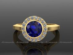 Vintage Style Yellow Gold Diamond and Blue Sapphire Ring