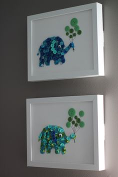 - Top 28 Most Adorable DIY Wall Art Projects For Kids Room Craft and DIY Projects and Tutorials Button Art, Button Crafts, Mur Diy, Elephant Themed Nursery, Turtle Nursery, Elephant Room, Owl Nursery, Baby Elephant, Diy For Girls