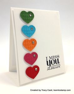 Mary Fish, Stampin' Pretty The Art of Simple & Pretty Cards Miss You Cards, Love Cards, Valentine Day Cards, Valentines, Stamping Up Cards, Heart Cards, Cards For Friends, Creative Cards, Scrapbook Cards