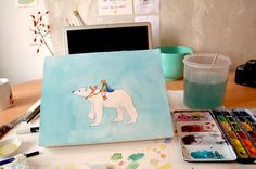 Princess Leah and the Polar Bear in icy blue wilderness. Studio space by Lone Aabrink ( www.aabrink.dk )