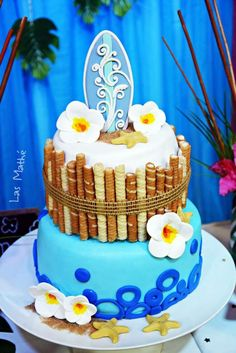 Gorgeous cake at a Hawaiian luau birthday party! See more party ideas at CatchMyParty.com!