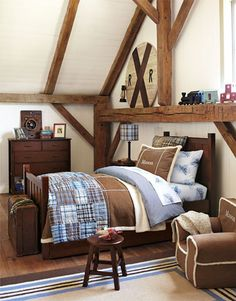 I love Rustic!!! Do adore the rafters in this room and the cute plaid bedding. No painted furniture either! Manly.