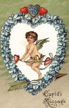 Super-cute vintage Victorian-era Valentine with cupid in blue flower heart with arrow. One of more than 100 #vintage victorian-era #valentines available from piddix for licensing. PDXC8389 -- Valentine's Day
