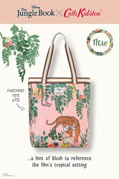 Wherever you wander, be sure to bring this special tote from the Jungle Book x Cath Kidston range. Featuring Shere Khan and Kaa in a jungle strewn with our bright blooms, the matt oilcloth tote has stripy webbing trim, popper closure and zip pocket. Cath Kidston Disney, Tiger Print, Walt Disney, Floral Prints, Product Launch, Friday, Journey, Range, Characters