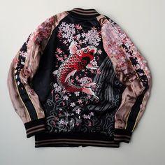 MIYABI Japan SAKURA Cherry Blossoms Heavy Embroidery Rising Koi Fish Tattoo Art Design Souvenir Sukajan Jacket - Japan Lover Me Store