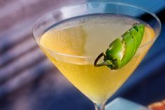 Cocktail recipe for a Jalapeno Margarita, a mixed drink of Don Julio Reposado Tequila, Grand Marnier, jalapeno pepper, orange bitters, agave nectar, and lime juice.