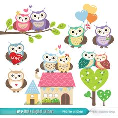Love Owls Digital Clipart Vector Graphics for by soarsensedesign, $4.50
