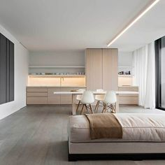 Contemporary design brings beautiful kitchen cabinets in a neutral color palette Minimalist Kitchen, Minimalist Interior, Modern Interior, Interior Architecture, Minimalist Furniture, Interior Design Kitchen, Kitchen Decor, Kitchen Ideas, Diy Kitchen