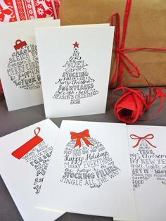 Christmas Card Greetings : Illustration Description 10 Hand-lettered Christmas card pack with five festive designs and red envelopes. 10 cards and Christmas Card Packs, Homemade Christmas Cards, Xmas Cards, Christmas Greetings, Holiday Cards, Holiday Messages, Christmas Traditions, Homemade Cards, Christmas Drawing