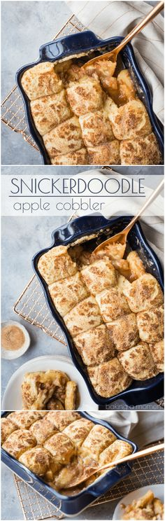 Snickerdoodle Apple Cobbler: soft baked apple filling topped with cinnamon-sugar-y snickerdoodle cookies! This makes your whole house smell amazing! #food #desserts #apple #cinnamon #comfortfood #baking via @bakingamoment