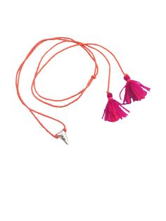 Image of PETITE SHARK TOOTH MEXICAN TASSEL NECKLACE (Silver)