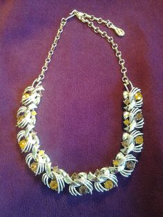 Vintage Coro necklace with amber and topaz by FunforVintage, $25.00