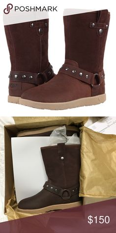 """UGG® Australia 'I Heart Moto' Boot Fall head over heels for I Heart UGG! Brand new in box, no defects!  Dual buckle straps amp up the attitude of a suede moto boot crafted with leopard-spotted UGGpure™ lining, a moisture-wicking textile made entirely from wool but crafted to feel and wear like genuine shearling. 1 1/2"""" heel; 3/4"""" platform (size 9). 9 1/2"""" boot shaft; 14 1/2"""" calf circumference. Removable insole. Suede upper/UGGpure wool lining/rubber sole. By I Heart UGG by UGG Australia…"""