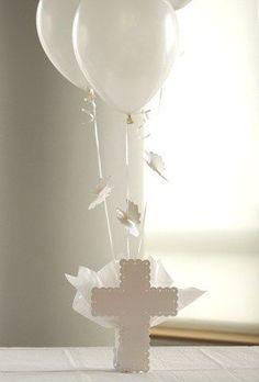 Set To Celebrate with Baptism Balloon Centerpieces, Christening Balloons, Communion Cross Centerpieces, Baptism Decorations Baptism Table Decorations, First Communion Decorations, First Communion Party, First Communion Dresses, First Holy Communion, Christening Balloons, Christening Party, Baptism Party, Baptism Ideas
