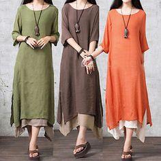 $11.83 - Women Long Sleeve Cotton Linen Loose Dress Casual Party Long Dress Plus Size #ebay #Fashion