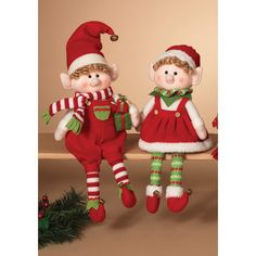 Gerson 17.5 in. Plush Elf Shelf Sitters - Set of 2 - These Gerson 17.5 in. Plush Elf Shelf Sitters - Set of 2 add a festive look to your holiday decor. Based on the popular children's book, these...