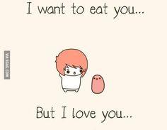 ❤Kawaii Love❤ ~I want to eat you.but I love you. Potato Meme, Potato Funny, Cute Potato, Potato Quotes, Cute Memes, Funny Cute, Funny Memes, Jokes, Kawaii Doodles