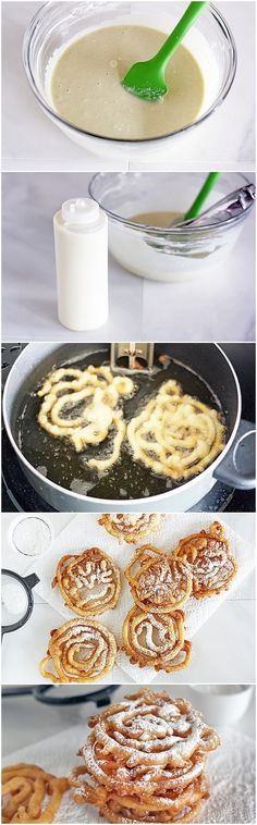 Simple DIY Mini Funnel Cakes. Vegetable oil, for frying 2 cups Original Bisquick mix 1 cup milk 2 eggs Powdered sugar, for topping