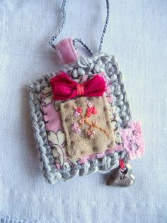 Embroidered flowers, crochet, liberty fabric, heart charm, necklace