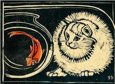 'Cat and Goldfish' by Marguerite Mahood (Australian artist) - #cat