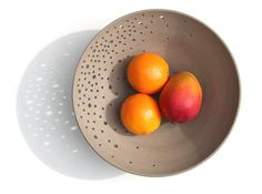 Large pottery fruit bowl, grey ceramic bowl, modern grey fruit bowl with starlight holes by Curve Ceramics