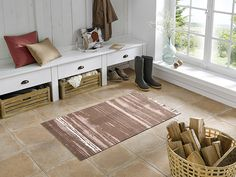 Contemporary   Painterly Pattern   Neutral Floor Mat   Designer Floor Mat   Home Decor Floor Mat   Floor Mat   Tan Floor Mat   Tan & Cream   Studio 67   Studio 67 Floor Mat