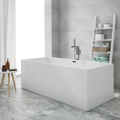Windsor Kubic 1700 x 750mm Double Ended Free Standing Bath, a stunning free standing bath featuring clean lines and a modern square shape.