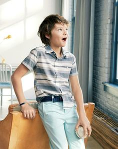 J.Crew boys' short-sleeve shirt in mixed stripe, cotton braided belt and slim fit sun faded chino. To preorder call 800 261 7422 or email erica@jcrew.com.