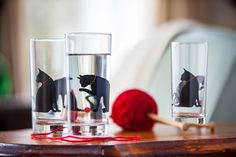 Drinking Glasses With Playful Cats & Red Yarns - Set Of 4 by Mary Elizabeth Arts on Gourmly