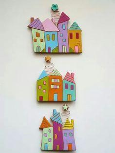 Ancora un pò di casine in terracotta, intagliate su lastra e dipinte a mano nei colori vivaci che amo, Sono impreziosite da spirale in rame. Clay Projects, Clay Crafts, Diy And Crafts, Crafts For Kids, Arts And Crafts, Paper Crafts, Clay Houses, Ceramic Houses, Paper Clay