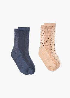 Pack 2 paires de chaussettes pois | MANGO