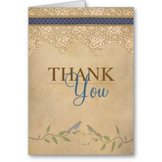 Vintage Lace Rustic Thank You Card