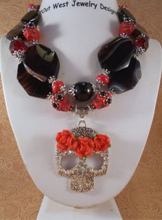 Cowgirl Necklace Set  Chunky Black Agate and Red by Outwestjewelry