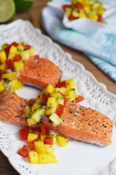 Simple Baked Salmon With Mango Pineapple Salsa | One of my absolute favorite ways to serve salmon! It's so easy and always a crowd pleaser! | paleo, Whole30, gluten-free and dairy-free! | Living Loving Paleo