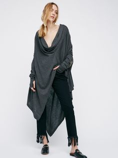 Serius Sweater | Luxuriously oversized and drapey, cowl neck sweater with leather elbow patches and ribbed trims. Straight sleeves feature wide ribbed trims and thumbholes. Cape-like silhouette with dramatic high-low hem and inverted point design.
