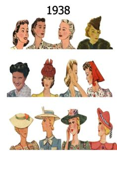Hairstyles and hat fashion history. Fashionable hat and hair styles from 1938 Fashion, Vintage Fashion, Pictures Of Hats, 1930s Hats, 1920s, Apple Costume, Guys And Dolls, Hat Hairstyles, Fashion History