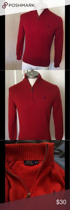 6f0eb54f23e Polo 1 2 Zip Cotton Sweater Polo 1 2 Zip Cotton Sweater-Tomato