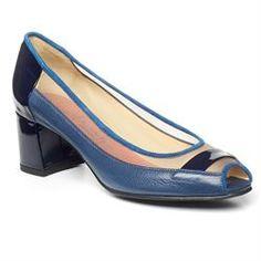 Pas de Rouge Hortense Womens Peep-Toe Pump Pas de Rouge Blue Mesh Calf and Patent $157.94