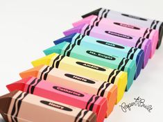 INSTANT DOWNLOAD - Printable Crayon Favor Boxes/ Gift Boxes in 9 Colors from Paper Built