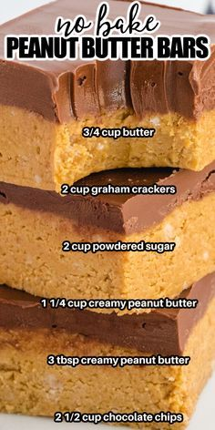 Peanut Butter Bars, Peanut Butter Recipes, Peanut Butter Squares, Fun Baking Recipes, Sweet Recipes, Cooking Recipes, Easy Desserts, Delicious Desserts, Yummy Food
