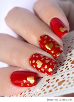 Red nails with golden hearts | Inspiring Ladies