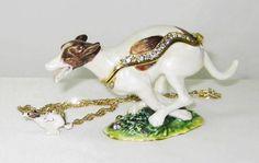 Brown & White Greyhound Dog Jeweled Trinket Box w Matching Pendant.  FREE SHIPPING  #TreasureJourneys