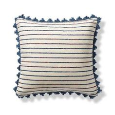 The contemporary striped pattern of the Mendoza Stripe Outdoor Pillow lends global style to your decor. Artfully woven of chunky polyester yarns, this	bohemian-inspired pillow includes touches of coral, ivory, gray, blue and yellow, making it great for a rustic or modern outdoor oasis.				Polyester					Zipper closure					Removable cover					Reverses to a solid back					Suitable for indoor or outdoor use					Dry clean only		Imported.