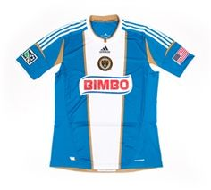 Adidas MLS Philadelphia Union 2012-2014 Away Authentic Soccer Jersey (Signal Blue/White/Khaki)