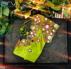 Custom-Tailored Embroidered Blouse #bride #bridalwear #bridaloutfit #southindianbride #southindianwedding #wedding #marriage #couture #wedmegood #indiancultures #indianweddingstyle #muhurtham #photraits #coimbatorewedding #destinationwedding #aariwork #peacock #embroidery #bespoke #boutique #arvicoimbatore #arvithecouturier #rspuram #coimbatore #tamilnadu Wedding Saree Blouse Designs, Blouse Designs Silk, Designer Blouse Patterns, Mirror Work Blouse Design, Blouse Desings, Aari Work Blouse, Blouse Models, Embroidered Blouse, Blouse Styles
