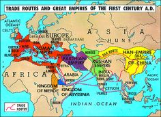 Rome traded with other empires across the known world in places such as China, India, and Africa. They traded valuable materials with each other such as grain, fabrics, metals, and pottery.