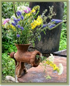 rusty old grinder...used as a vase...