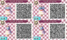 Animal Crossing New Leaf QR code - Navy stripe dress