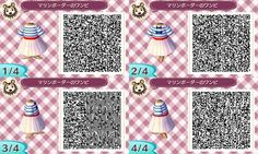 Animal Crossing New Leaf QR code - Navy stripe dress