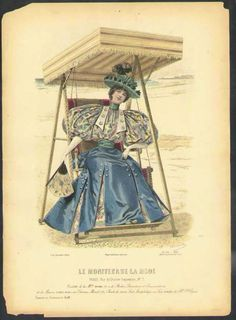 A September 1895 fashion plate from Le Moniteur de la Mode shows a woman lounging on a beach swing and modeling the very height of the leg o'mutton sleeve craze of the 1890s. I absolutely love the bodice-matching inserts in the box pleated skirt.
